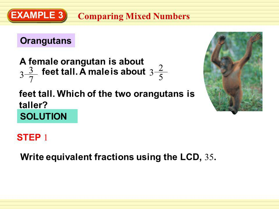 EXAMPLE 3 Comparing Mixed Numbers SOLUTION Write equivalent fractions using the LCD, 35.