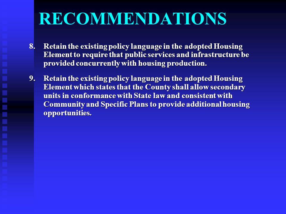 MONTEREY COUNTY'S HOUSING ELEMENT Monterey County's Housing Element was adopted in 2003.
