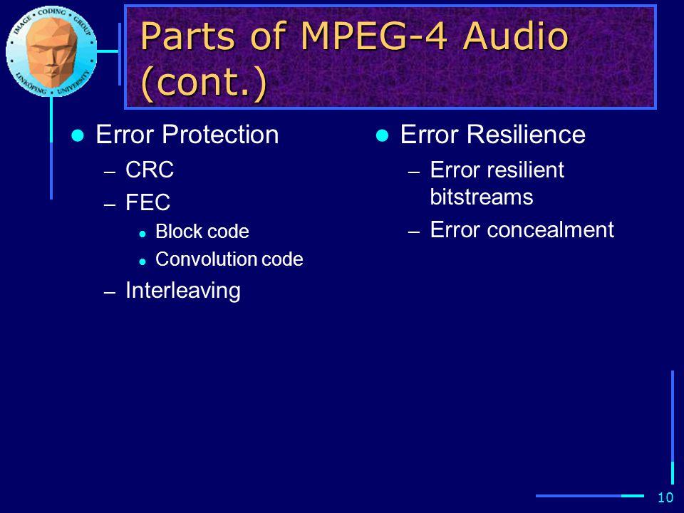 10 Parts of MPEG-4 Audio (cont.) Error Protection – CRC – FEC Block code Convolution code – Interleaving Error Resilience – Error resilient bitstreams – Error concealment