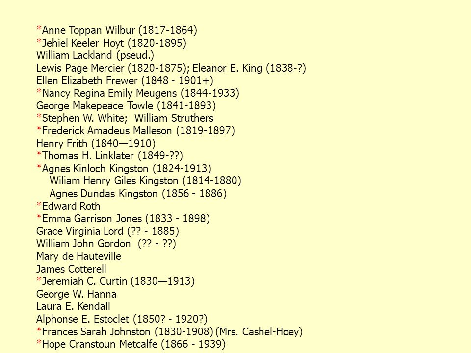 *Anne Toppan Wilbur (1817-1864) *Jehiel Keeler Hoyt (1820-1895) William Lackland (pseud.) Lewis Page Mercier (1820-1875); Eleanor E.