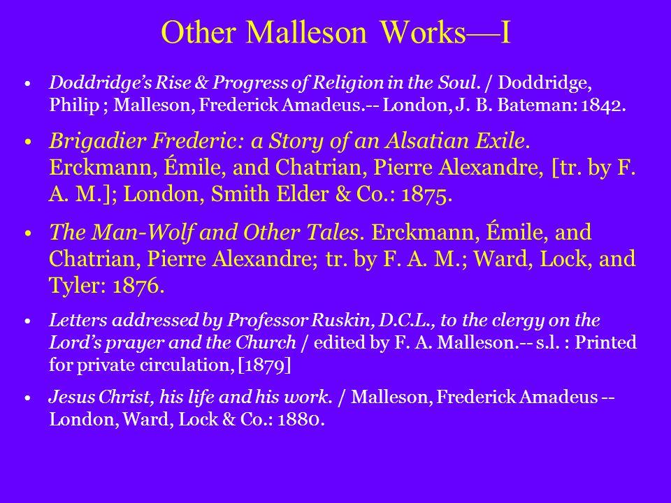 Other Malleson Works—I Doddridge's Rise & Progress of Religion in the Soul.