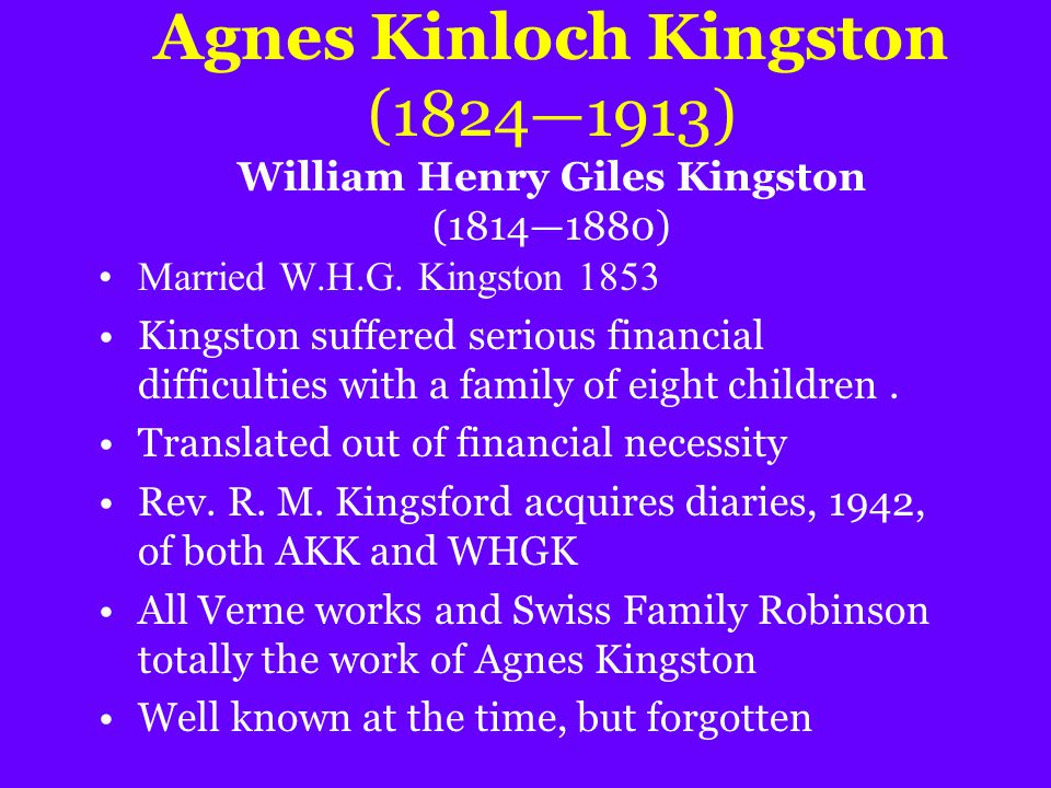 Agnes Kinloch Kingston (1824—1913) William Henry Giles Kingston (1814—1880) Married W.H.G. Kingston 1853 Kingston suffered serious financial difficult