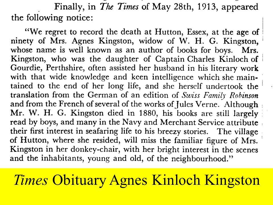 Times Obituary Agnes Kinloch Kingston