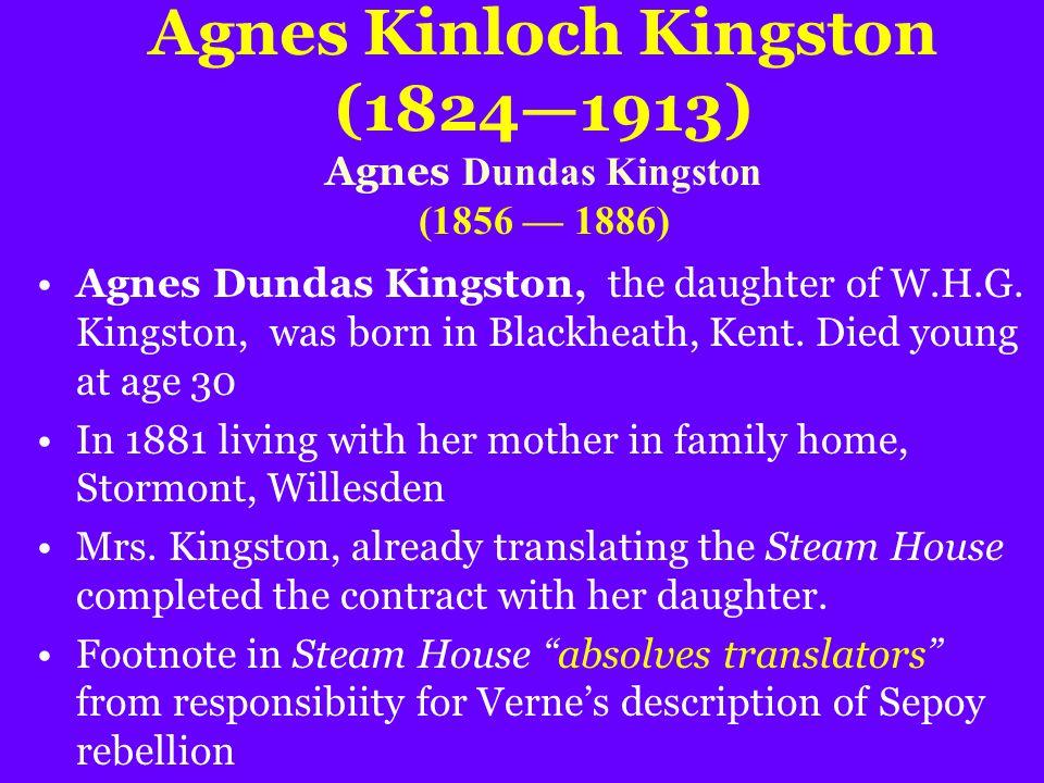 Agnes Kinloch Kingston (1824—1913) Agnes Dundas Kingston (1856 — 1886) Agnes Dundas Kingston, the daughter of W.H.G.
