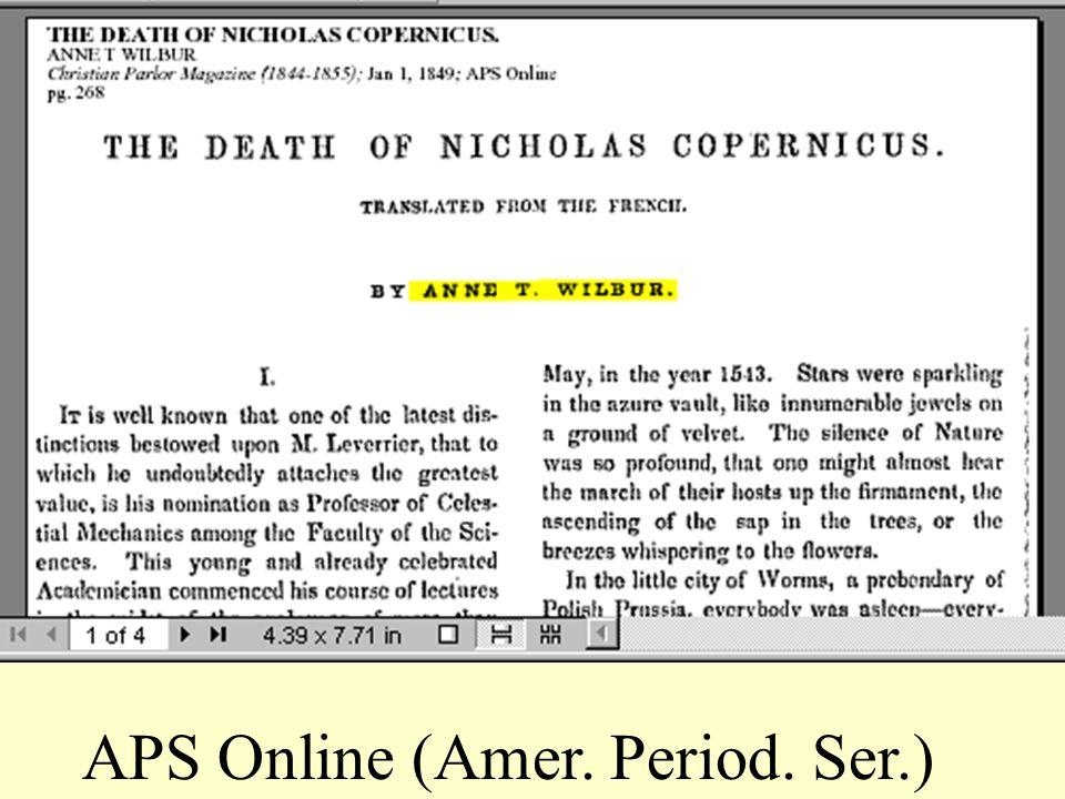 APS Online (Amer. Period. Ser.)
