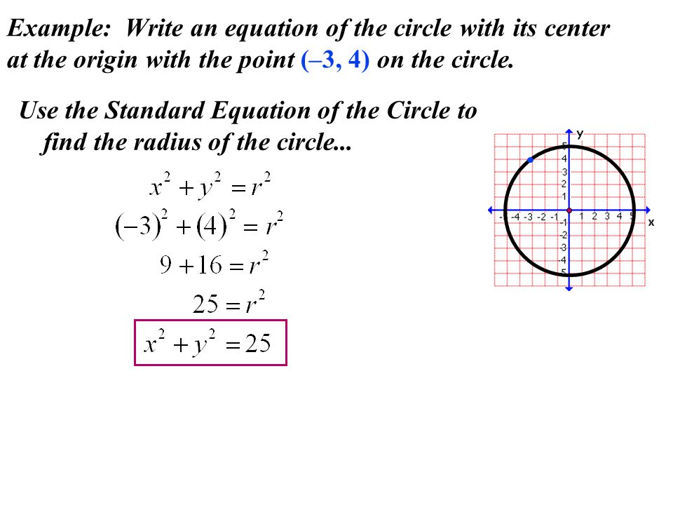 Example: Write an equation of the circle with its center at the origin with the point (–3, 4) on the circle. Use the Standard Equation of the Circle t