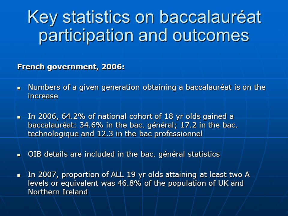 Numbers and success rate of students taking the French baccalauréat général, 2006 SeriesNo.