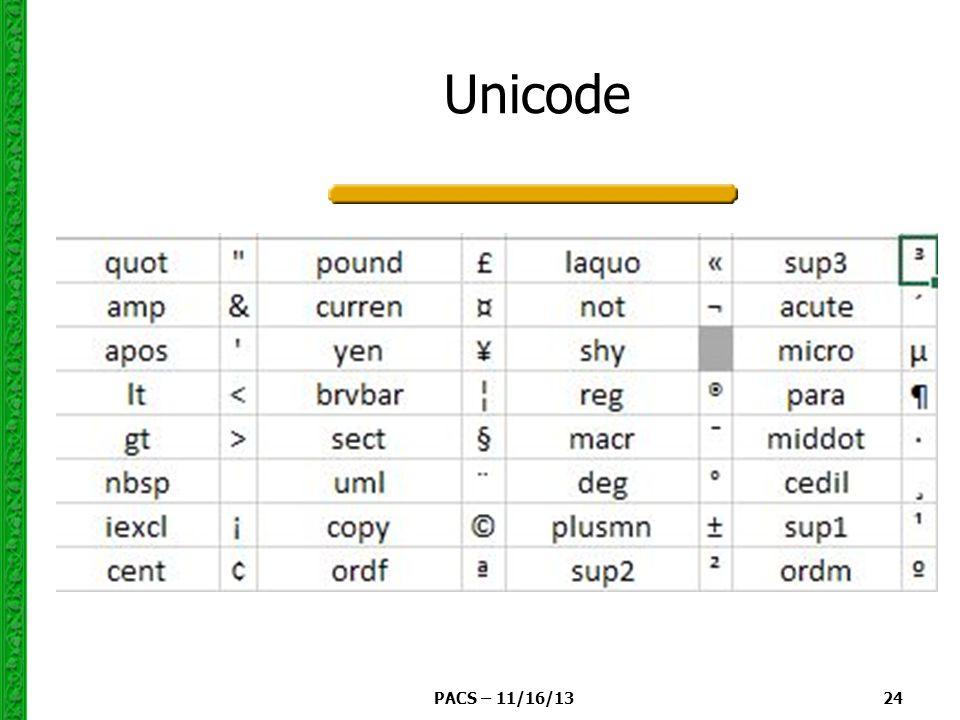 PACS – 11/16/13 24 Unicode