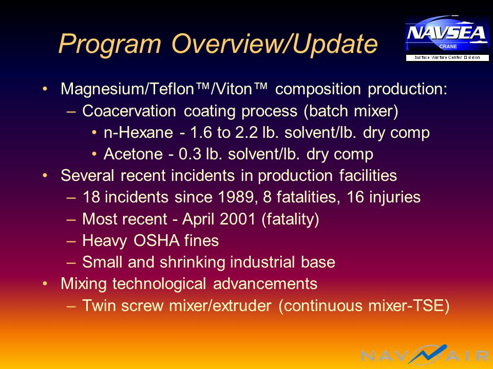Program Overview/Update Magnesium/Teflon™/Viton™ composition production: –Coacervation coating process (batch mixer) n-Hexane - 1.6 to 2.2 lb.