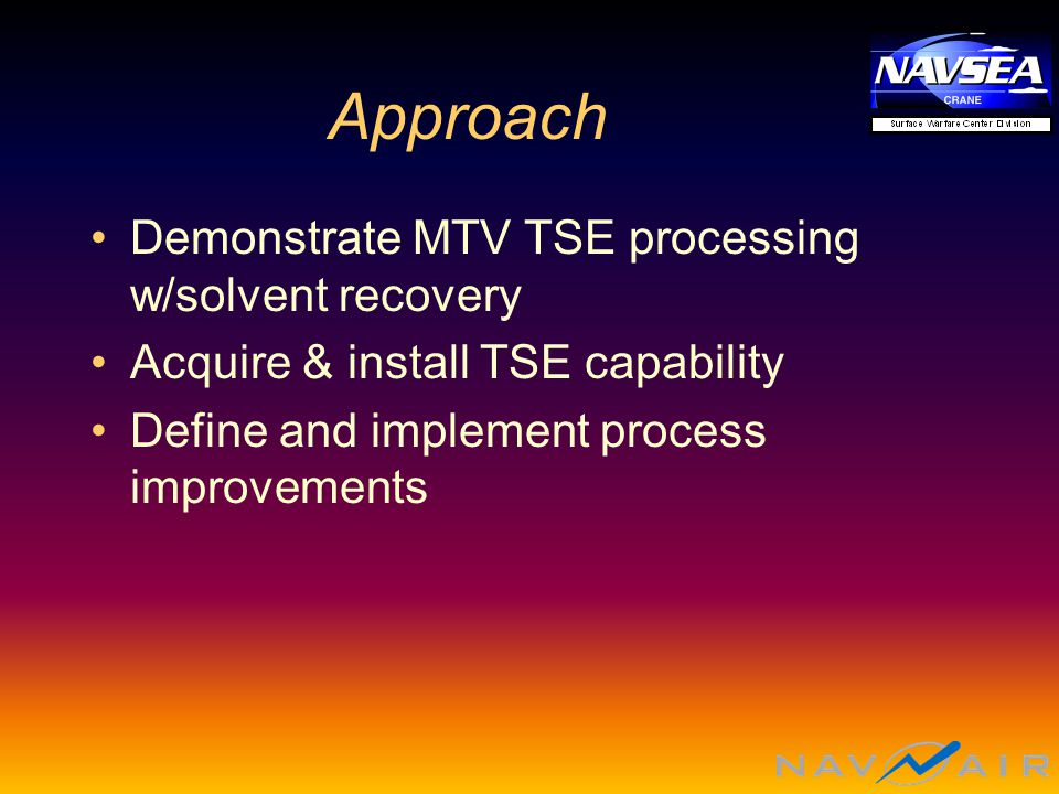 Approach Demonstrate MTV TSE processing w/solvent recovery Acquire & install TSE capability Define and implement process improvements