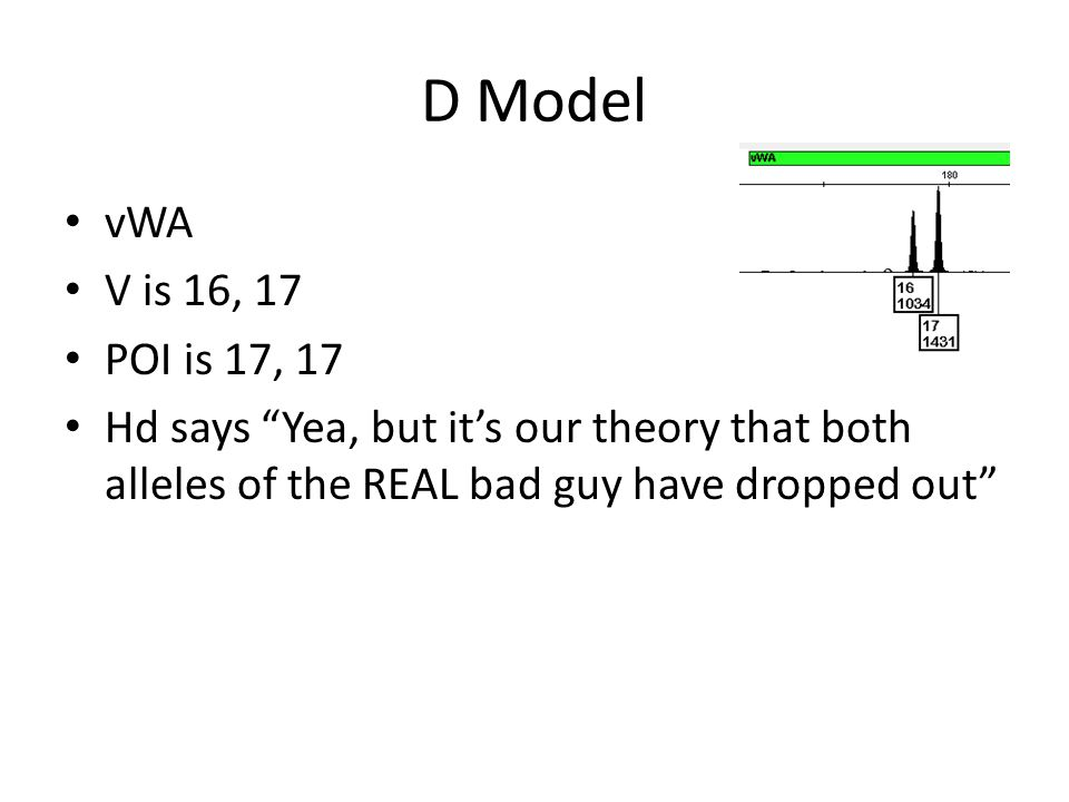 D Model vWA V is 16, 17 POI is 17, 17 Hd says Yea, but it's our theory that both alleles of the REAL bad guy have dropped out