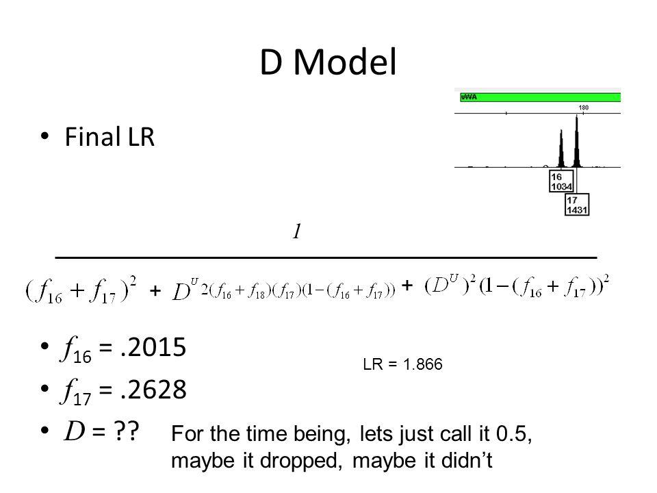 D Model Final LR f 16 =.2015 f 17 =.2628 D = ?.