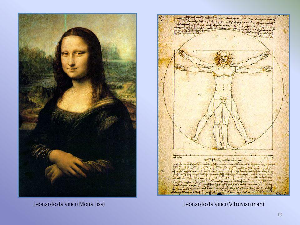 19 Leonardo da Vinci (Mona Lisa)Leonardo da Vinci (Vitruvian man)