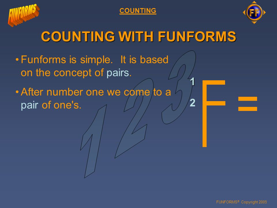FUNFORMS © Copyright 2005 COUNTING COUNTING WITH FUNFORMS