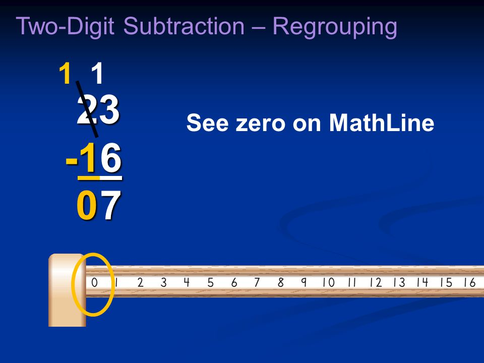 Two-Digit Subtraction – Regrouping 23 -16 23 -16 7 11 7 See zero on MathLine 0