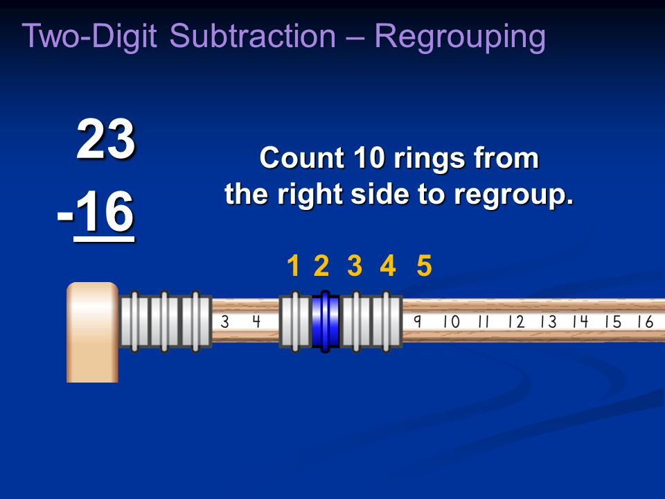 23 -16 23 -16 Two-Digit Subtraction – Regrouping Count 10 rings from the right side to regroup. 23145