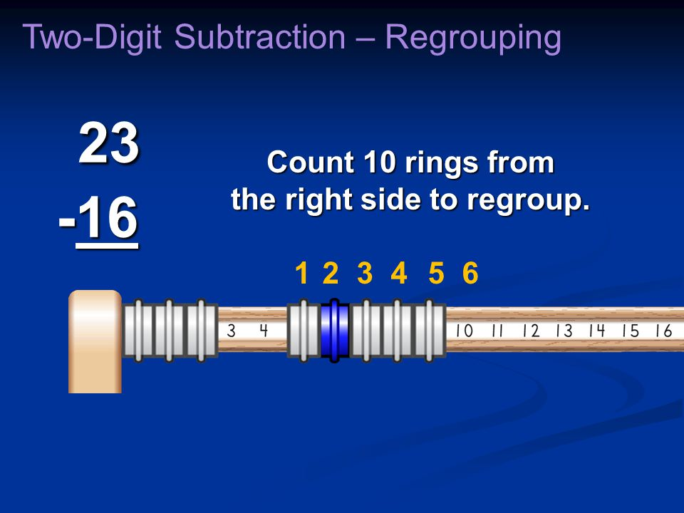 23 -16 23 -16 Two-Digit Subtraction – Regrouping Count 10 rings from the right side to regroup. 231456