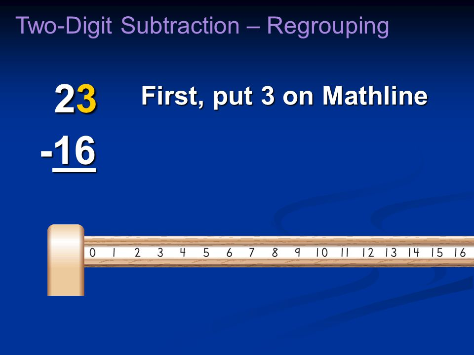 First, put 3 on Mathline Two-Digit Subtraction – Regrouping 23 -16 23 -16