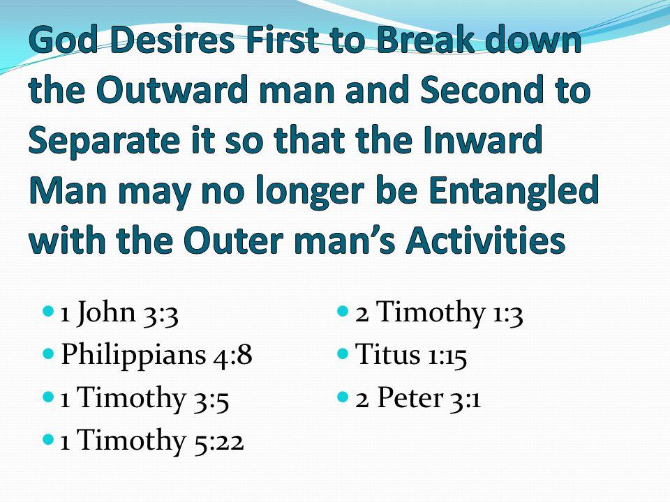 1 John 3:3 Philippians 4:8 1 Timothy 3:5 1 Timothy 5:22 2 Timothy 1:3 Titus 1:15 2 Peter 3:1