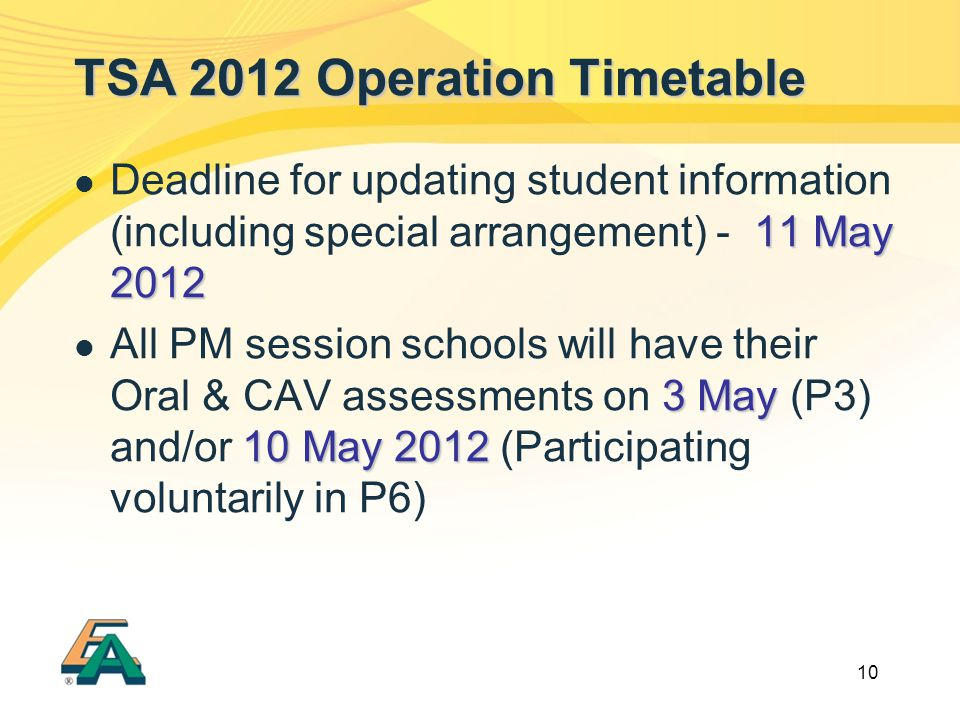 10 TSA 2012 Operation Timetable 11 May 2012 Deadline for updating student information (including special arrangement) - 11 May 2012 3 May 10 May 2012 All PM session schools will have their Oral & CAV assessments on 3 May (P3) and/or 10 May 2012 (Participating voluntarily in P6)