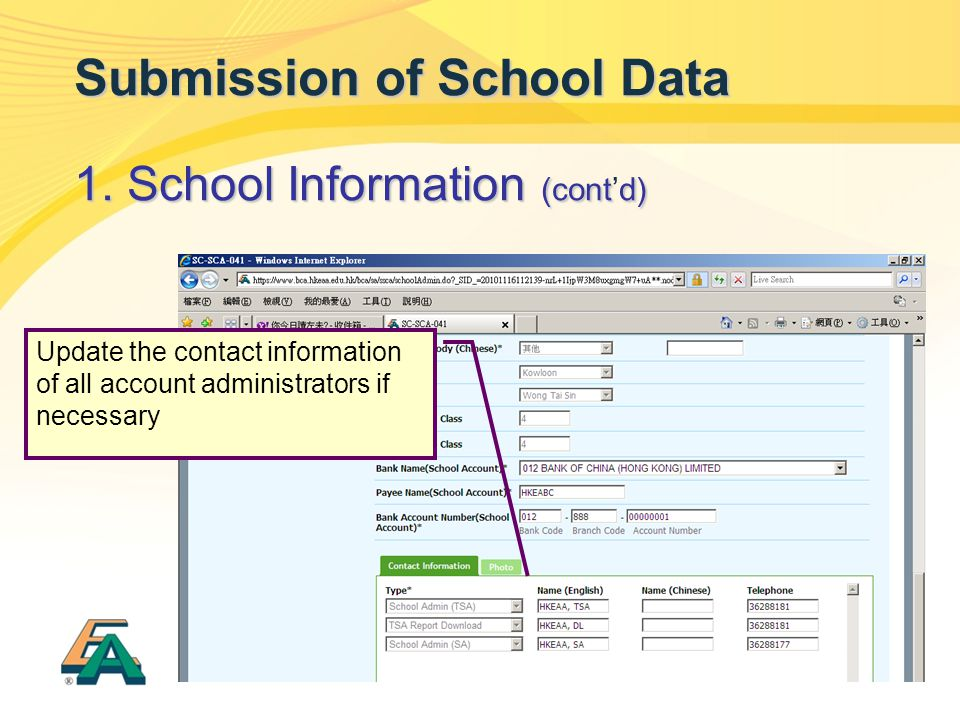 17 Submission of School Data 1. School Information (contd) 1.
