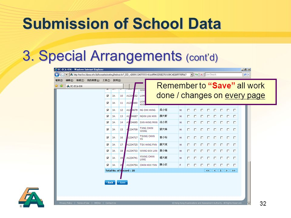 32 Submission of School Data 3. Special Arrangements (contd) 3.