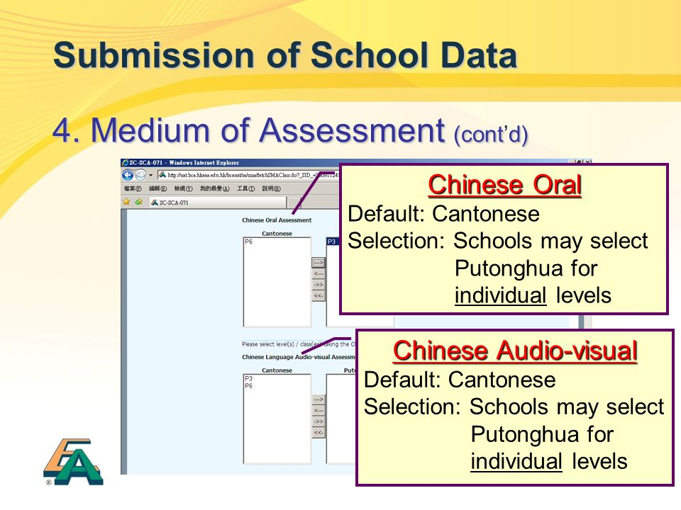 37 Submission of School Data 4. Medium of Assessment (contd) 4. Medium of Assessment (cont'd) Chinese Oral Default: Cantonese Selection: Schools may s