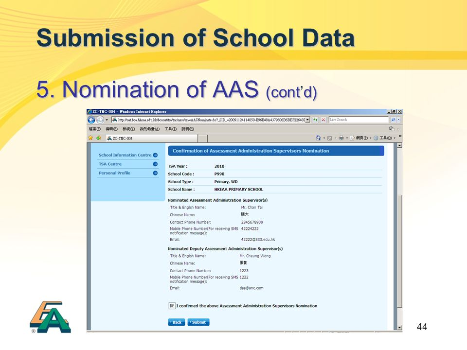 44 Submission of School Data 5. Nomination of AAS (contd) 5. Nomination of AAS (cont'd)