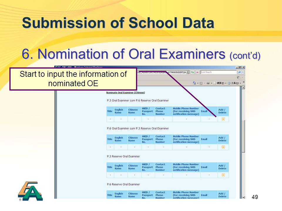 49 Submission of School Data 6. Nomination of Oral Examiners (contd) 6. Nomination of Oral Examiners (cont'd) Start to input the information of nomina
