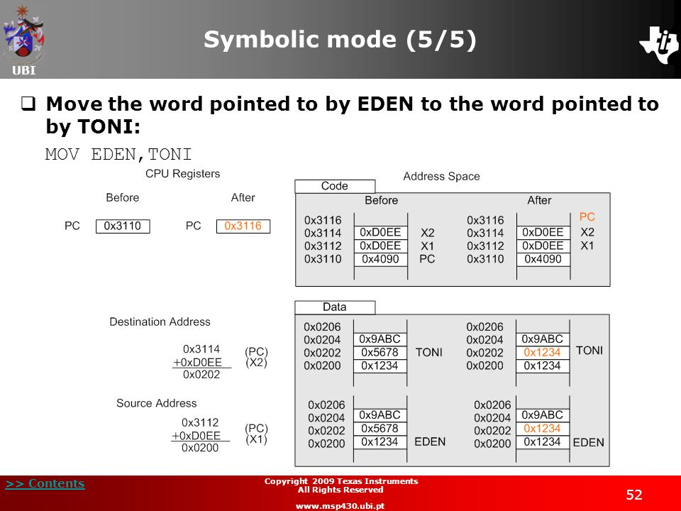 UBI >> Contents 52 Copyright 2009 Texas Instruments All Rights Reserved www.msp430.ubi.pt Symbolic mode (5/5)  Move the word pointed to by EDEN to the word pointed to by TONI: MOV EDEN,TONI
