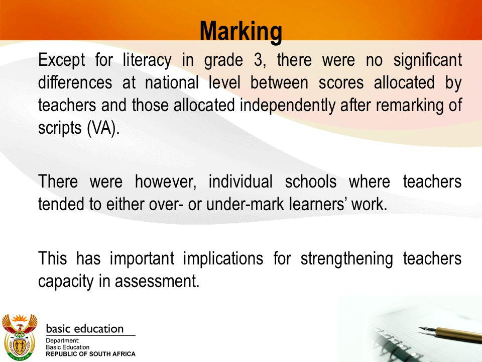 Marking Except for literacy in grade 3, there were no significant differences at national level between scores allocated by teachers and those allocated independently after remarking of scripts (VA).