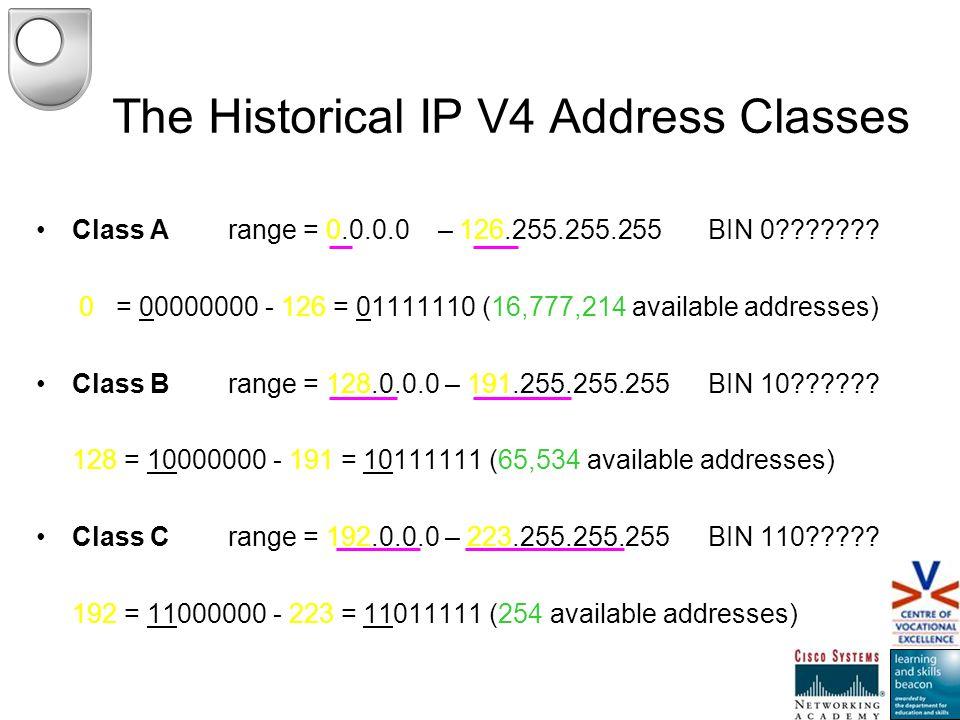 The Historical IP V4 Address Classes Class Arange = 0.0.0.0 – 126.255.255.255 BIN 0??????? 0 = 00000000 - 126 = 01111110 (16,777,214 available address