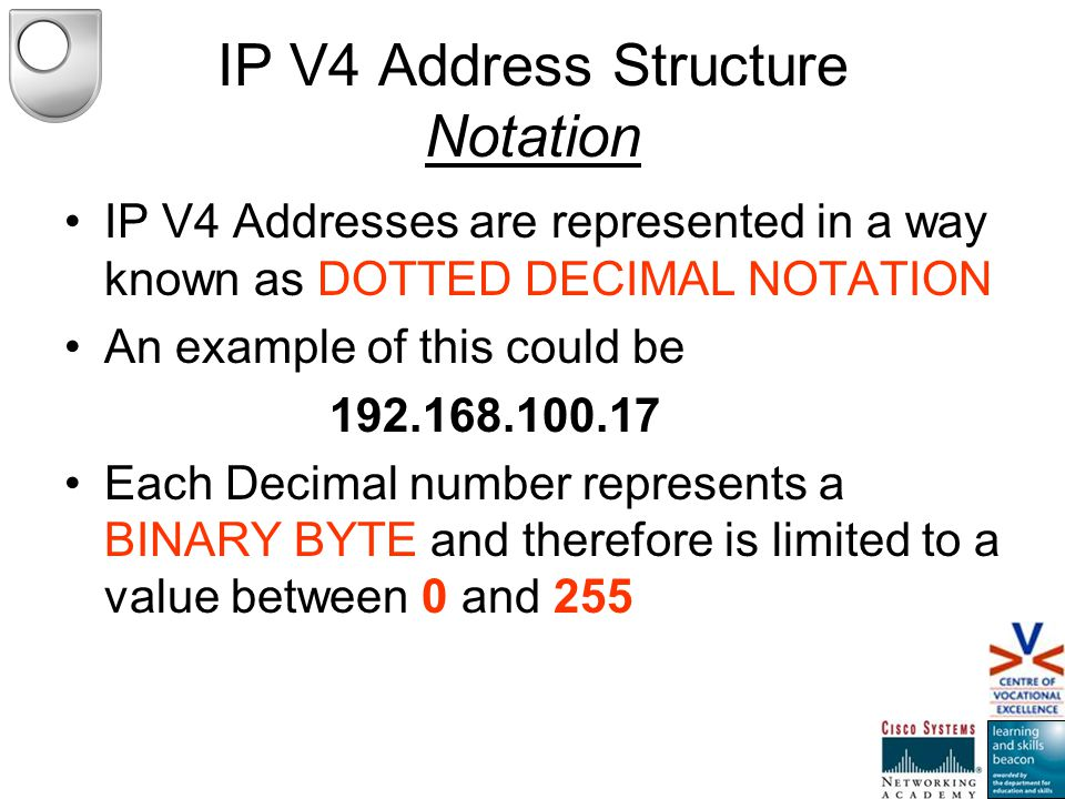 IP V4 Address Structure Hierarchical IP V4 Addresses are hierarchical in nature.