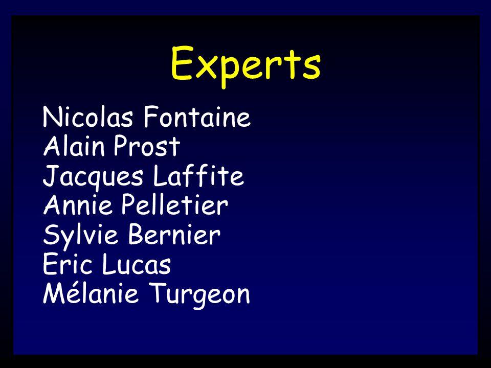Experts Nicolas Fontaine Alain Prost Jacques Laffite Annie Pelletier Sylvie Bernier Eric Lucas Mélanie Turgeon