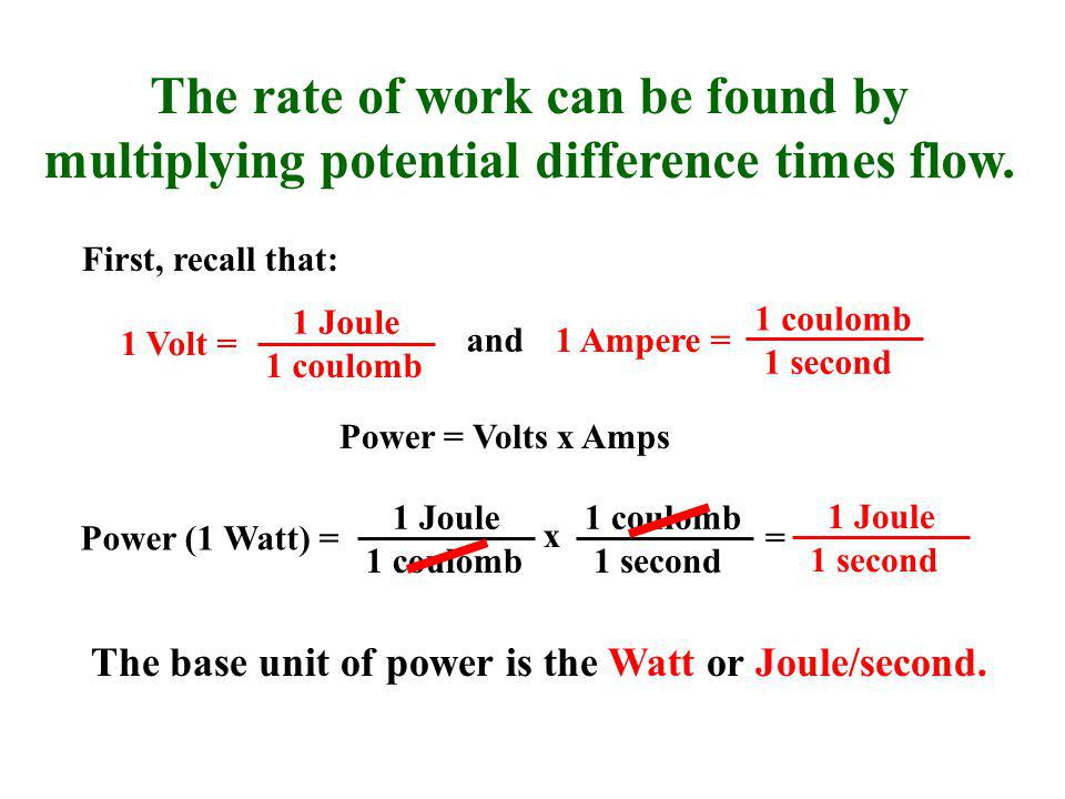 The rate of work can be found by multiplying potential difference times flow.