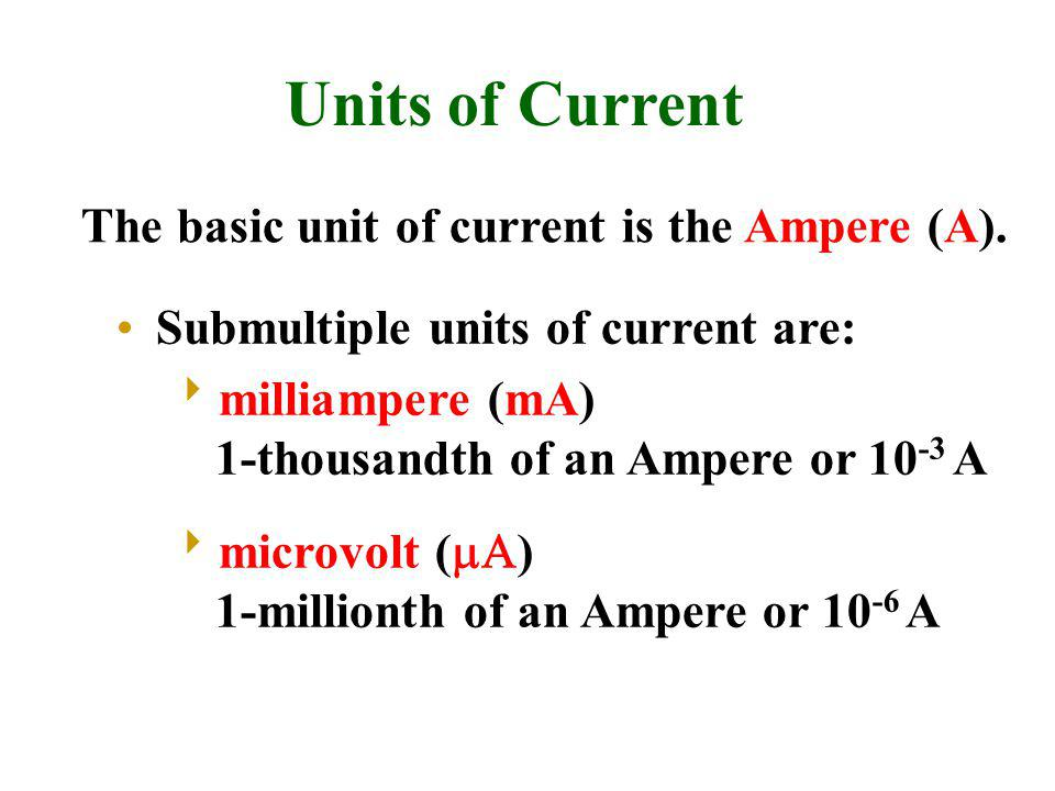 Units of Current The basic unit of current is the Ampere (A).