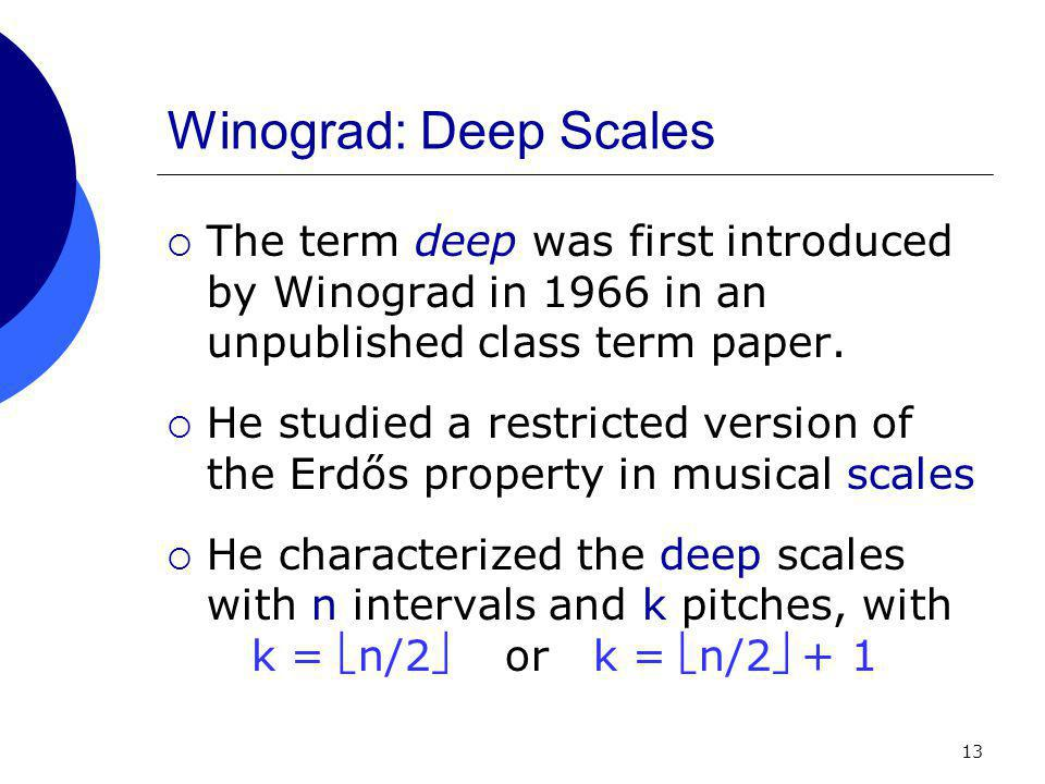 13 Winograd: Deep Scales  The term deep was first introduced by Winograd in 1966 in an unpublished class term paper.