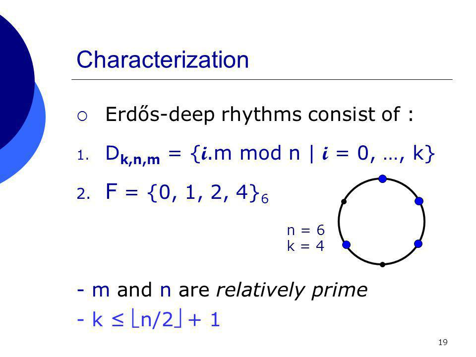 19 Characterization  Erdős-deep rhythms consist of : 1.
