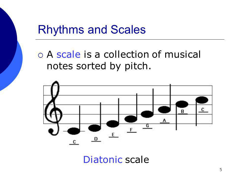 5 Rhythms and Scales  A scale is a collection of musical notes sorted by pitch. Diatonic scale