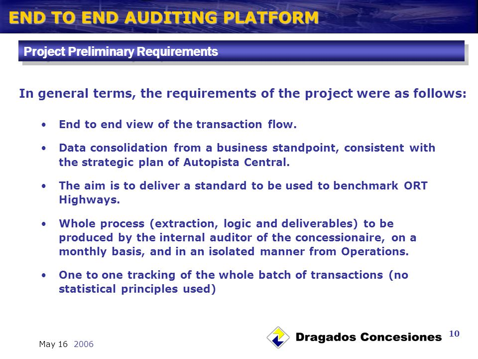 END TO END AUDITING PLATFORM May 16 2006 10 End to end view of the transaction flow.