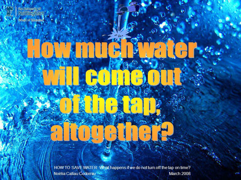 3,450 X 16 = … mL 3,450 X16 2070 345 00 HOW TO SAVE WATER: What happens if we do not turn off the tap on time.