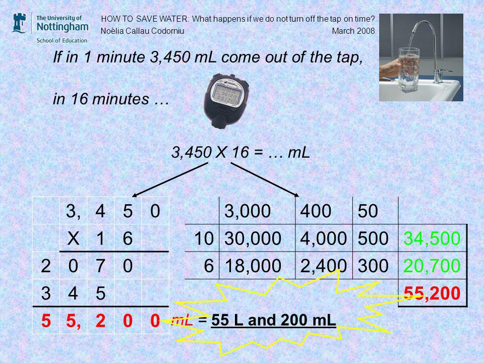 3,450 X 16 = … mL 3,450 X16 HOW TO SAVE WATER: What happens if we do not turn off the tap on time.