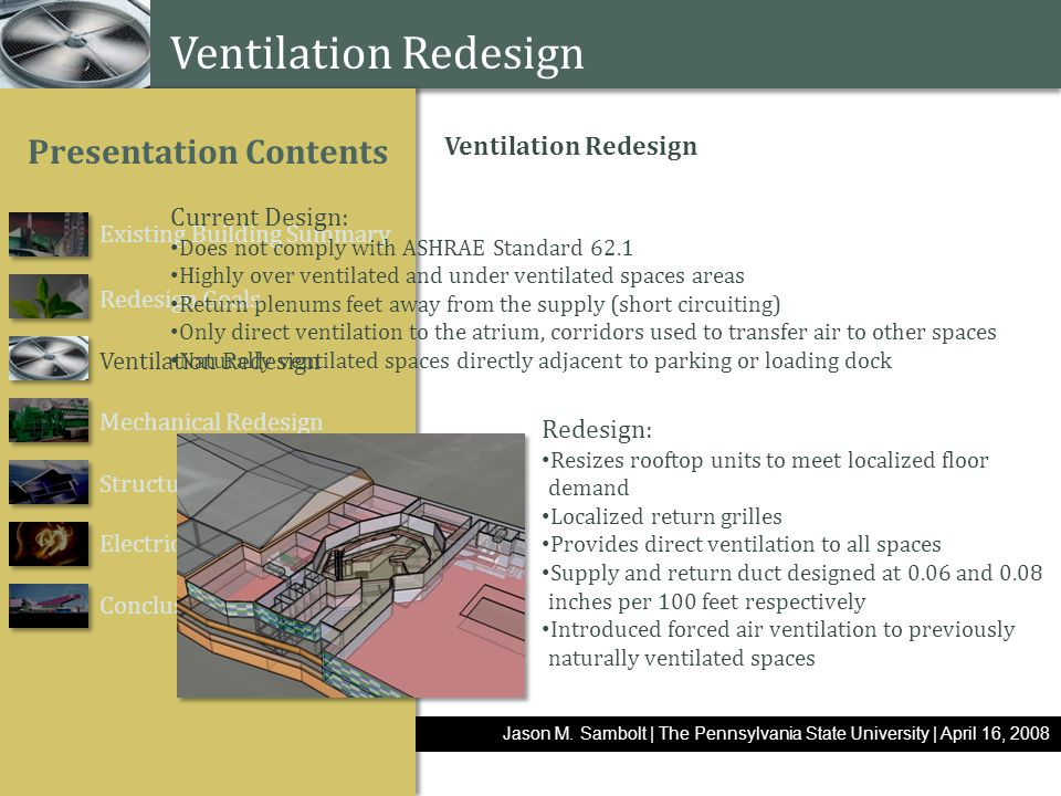 www.themegallery.com Jason M. Sambolt | The Pennsylvania State University | April 16, 2008 Existing Building Summary Redesign Goals Ventilation Redesi