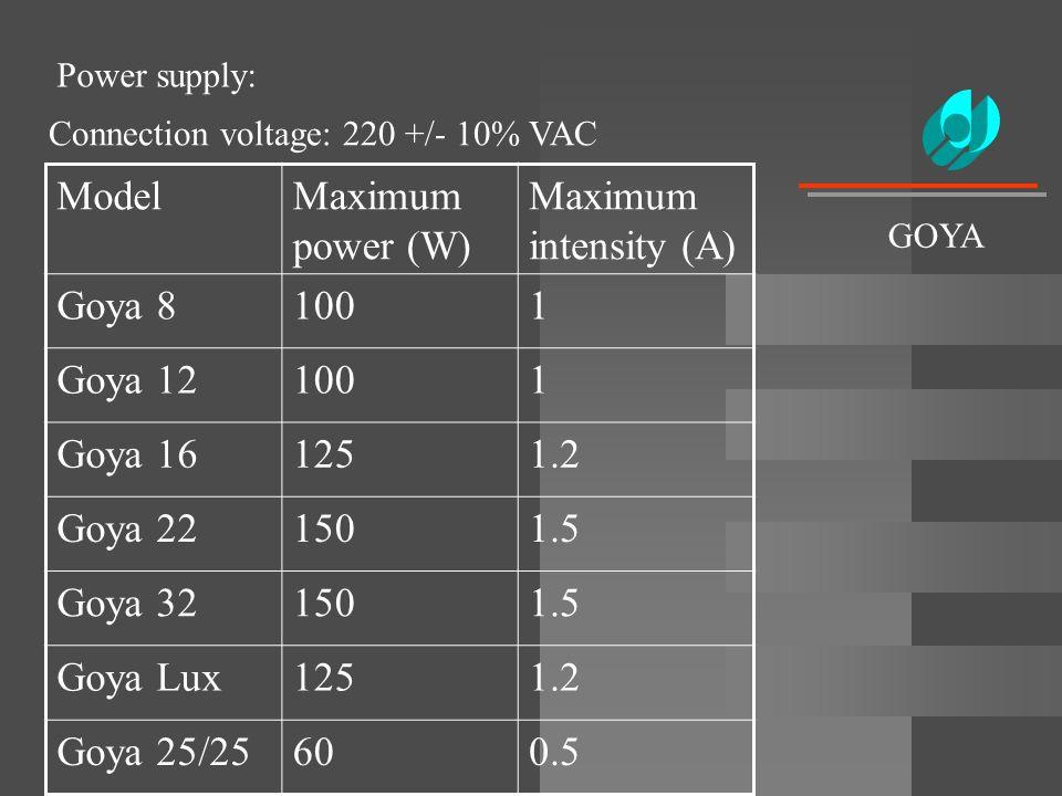 Power supply: ModelMaximum power (W) Maximum intensity (A) Goya 81001 Goya 121001 Goya 161251.2 Goya 221501.5 Goya 321501.5 Goya Lux1251.2 Goya 25/256