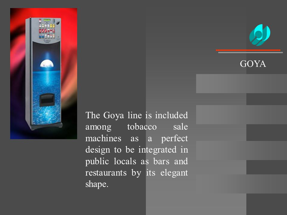 The Goya line is included among tobacco sale machines as a perfect design to be integrated in public locals as bars and restaurants by its elegant sha