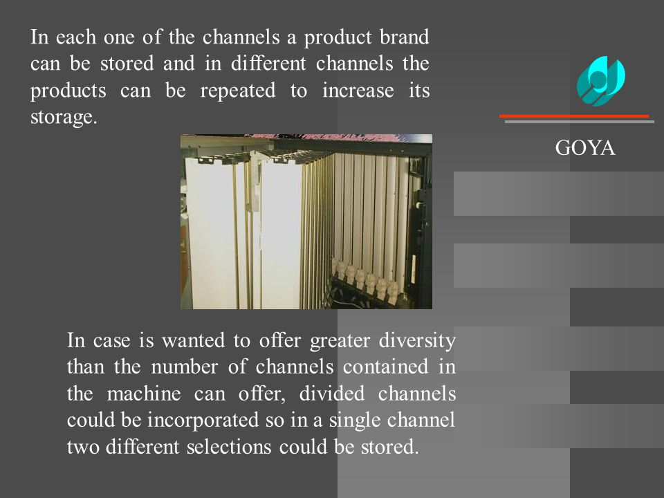 In each one of the channels a product brand can be stored and in different channels the products can be repeated to increase its storage. In case is w