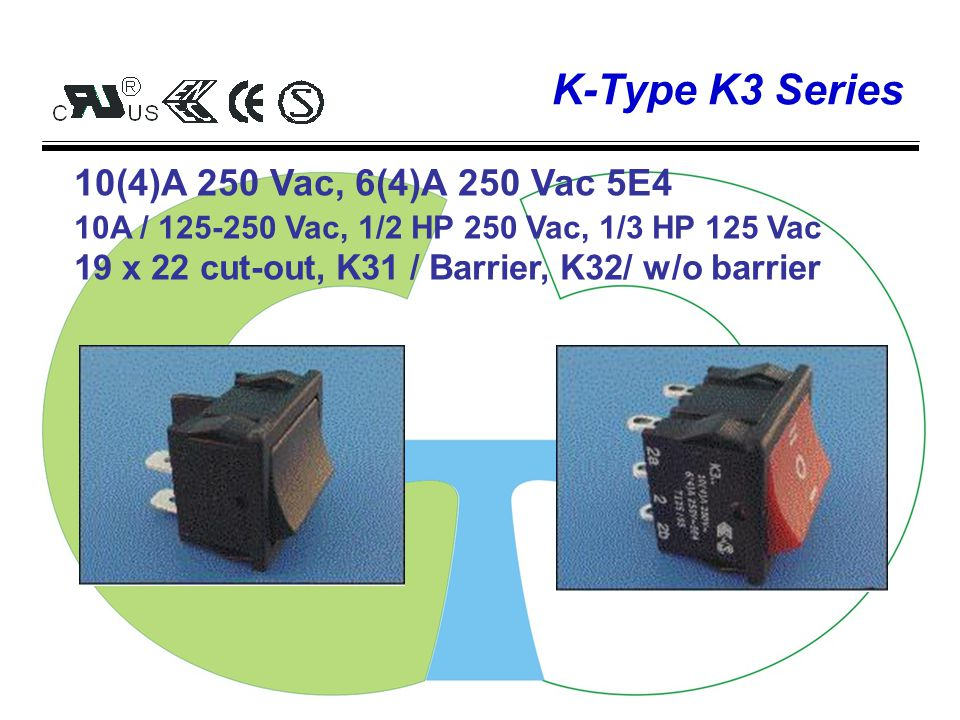 K-Type K1 Series 13(4)A 250 Vac, 6(4)A 250 Vac 5E4 10A / 125-250 Vac, 1/2 HP 250 Vac, 1/3 HP 125 Vac 19 x 13 cut-out, K10 / Rectangular, K11/ Round