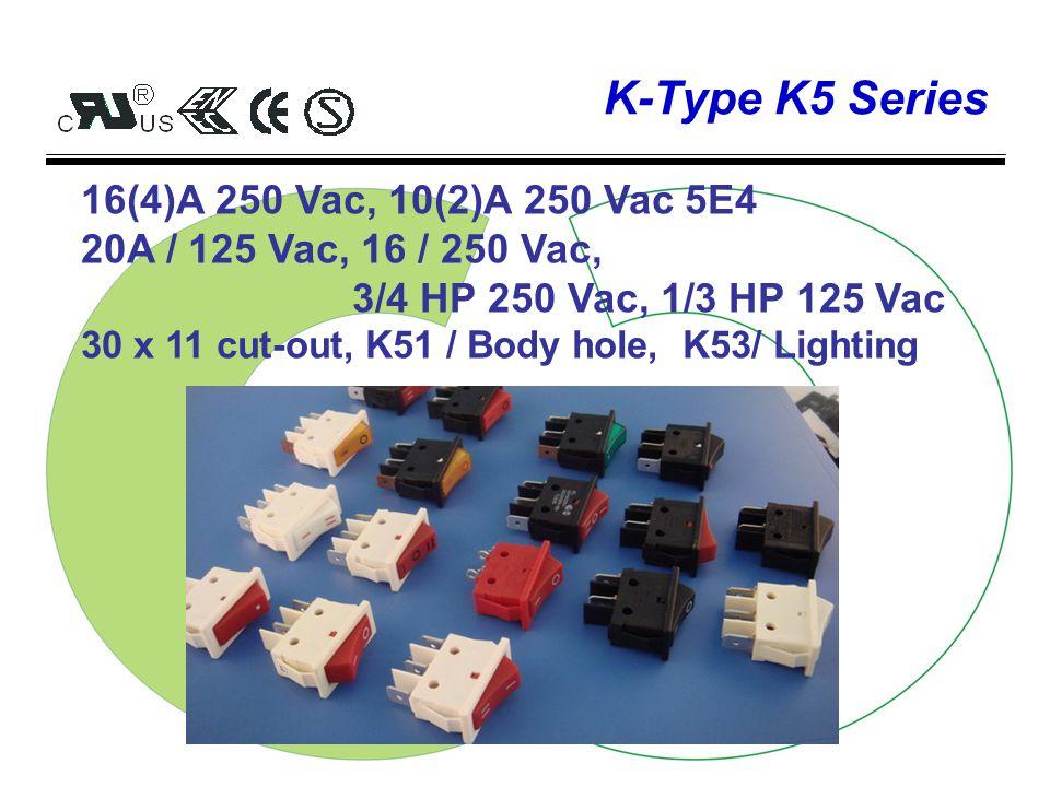 K-Type K4 Series 10(4)A 250 Vac, 6(4)A 250 Vac 5E4 10A / 125-250 Vac, 1/2 HP 250 Vac, 1/3 HP 125 Vac 19 x 13 cut-out, K41 / DPST, K42/ DPDT
