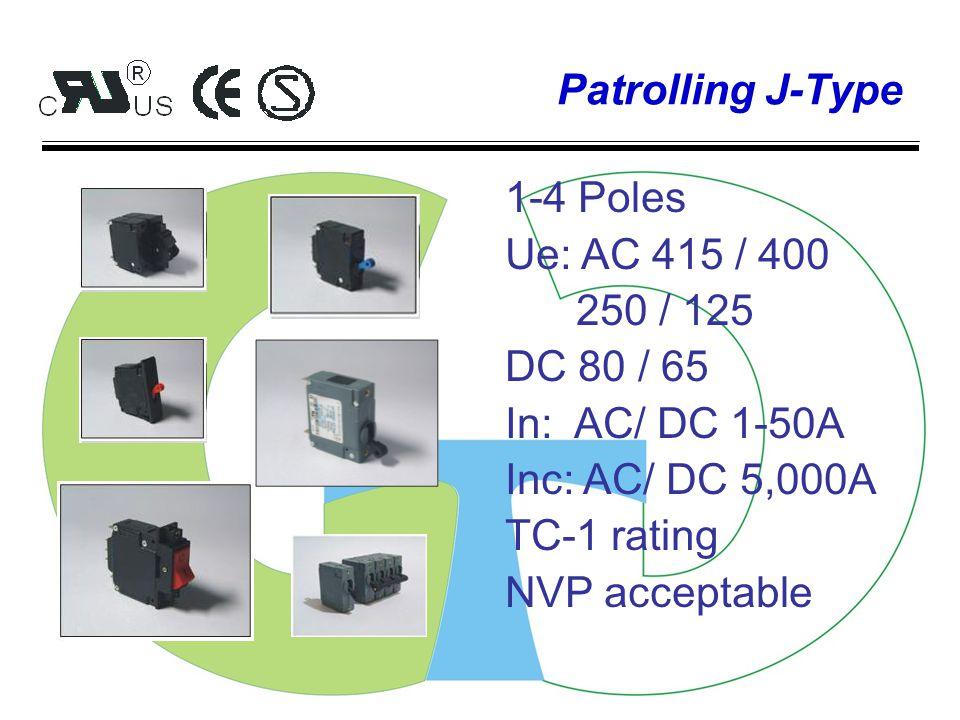 Patrolling A-Type 1-4 Poles Ue: AC 480 / 415 / 277/ 250 / 125 DC 125 / 80 / 65 In: AC/ DC 1-100A Inc: AC/ DC 10,000A TC-1 rating NVP acceptable