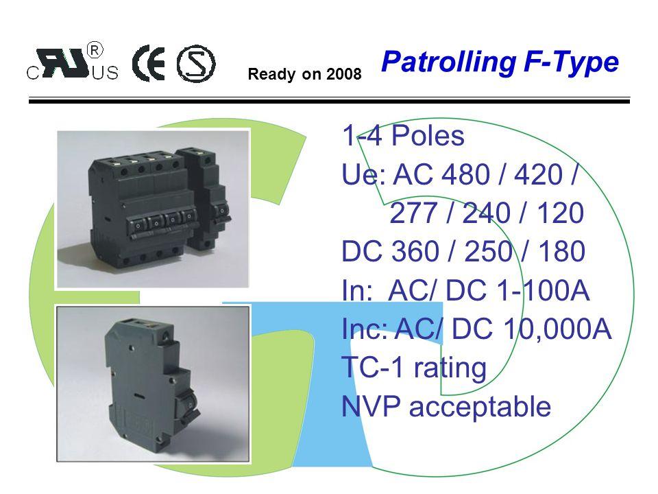 Patrolling J-Type 1-4 Poles Ue: AC 415 / 400 250 / 125 DC 80 / 65 In: AC/ DC 1-50A Inc: AC/ DC 5,000A TC-1 rating NVP acceptable